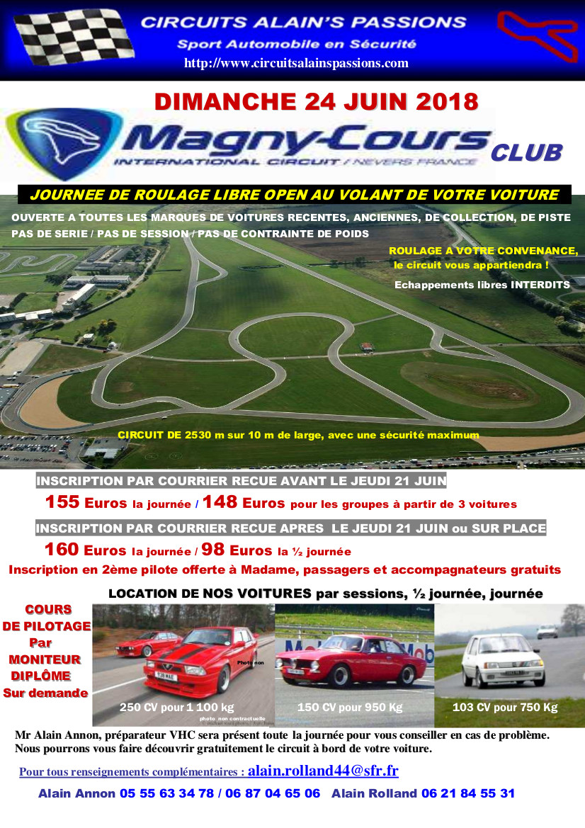 FLYER MAGNY COURS Club DIMANCHE 24 JUIN 2018