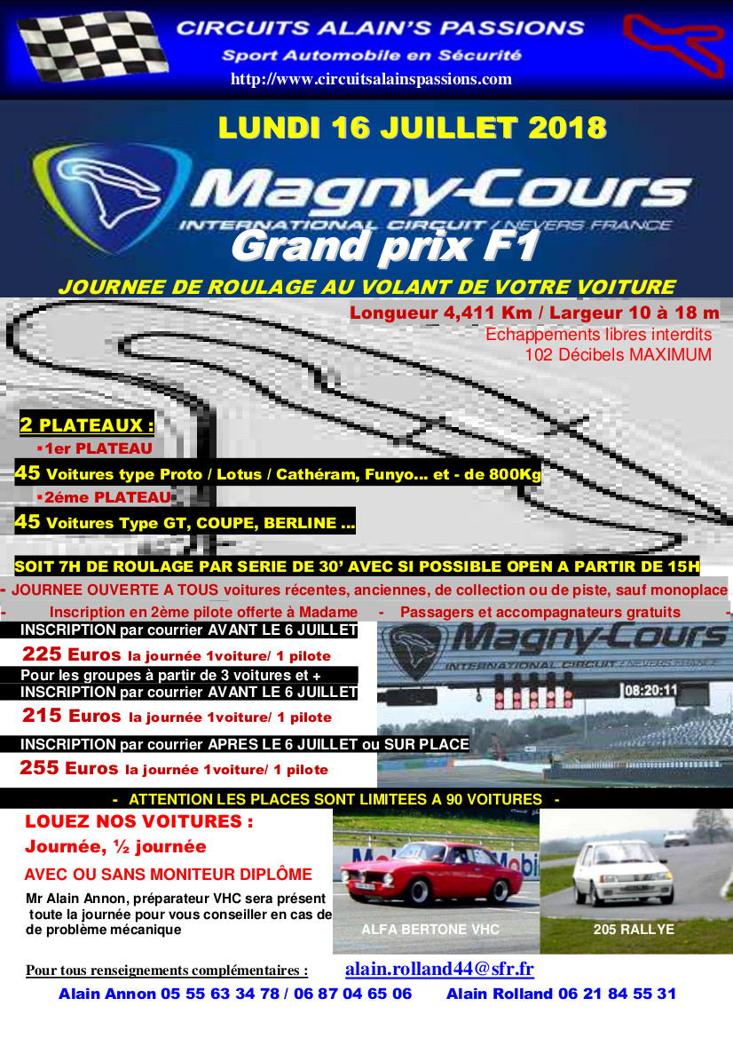 FLYER MAGNY COURS Grand Prix F1 LUNDI 16 JUILLET 2018
