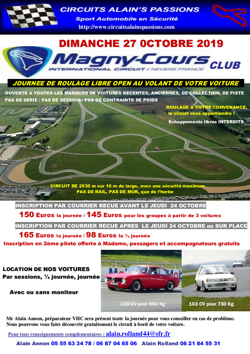 FLYER MAGNY COURS CLUB DIMANCHE 27 OCTOBRE 2019