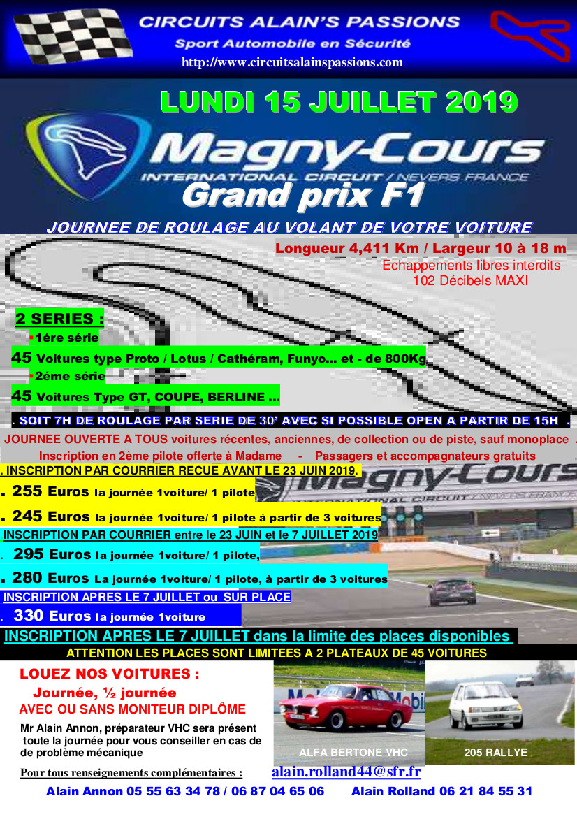 FLYER MAGNY COURS Grand Prix F1 LUNDI 15 JUILLET 2019