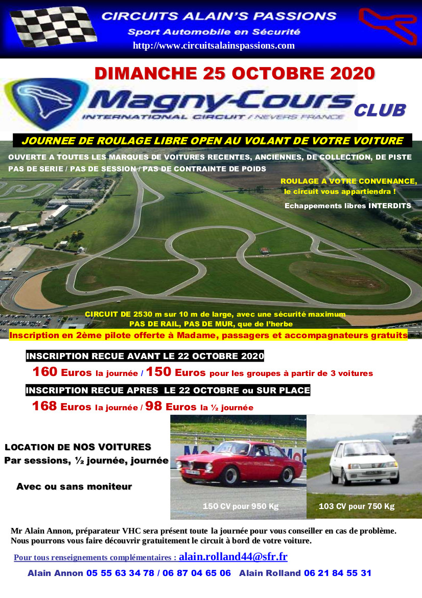 FLYER MAGNY COURS CLUB DIMANCHE 25 OCTOBRE 2020