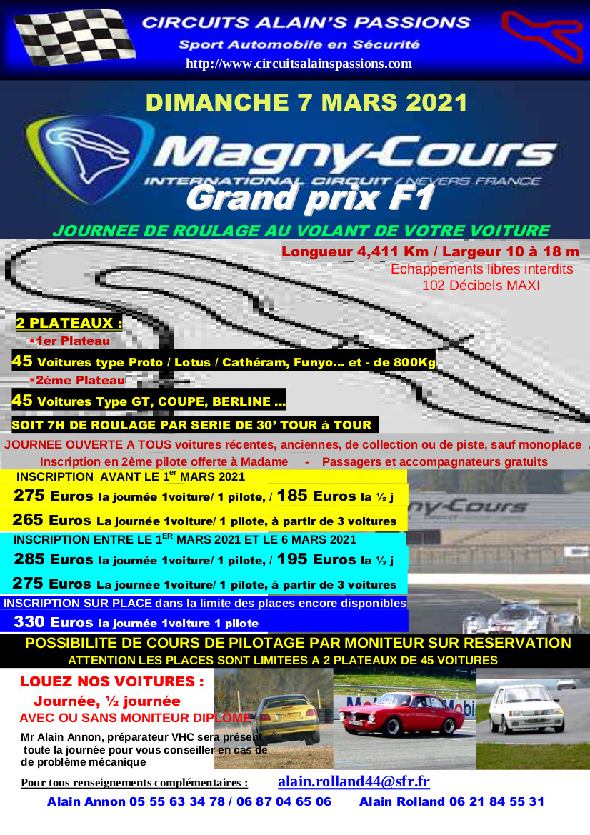 FLYER MAGNY COURS Grand Prix F1 DIMANCHE 7 MARS 2021